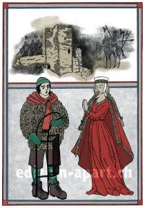 """Bild zur Sage """"Das schatzhütende Fräulein von der Burg Jörgenberg""""."""